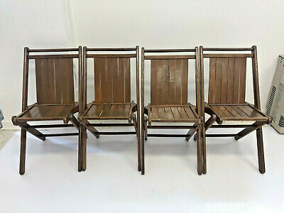 4 Vintage WOOD FOLDING CHAIRS Set slat country wooden bistro wedding dining lot