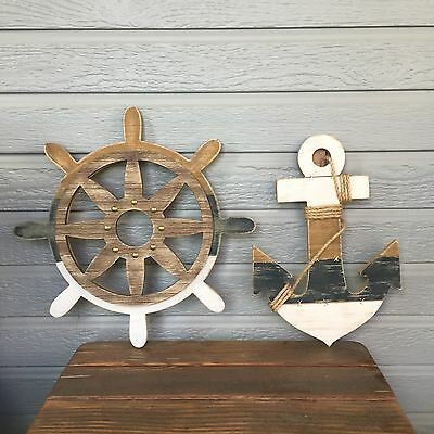 SET Wooden SHIP STEERING WHEEL & ANCHOR w/ Rope Nautical Beach Wood WALL Decor