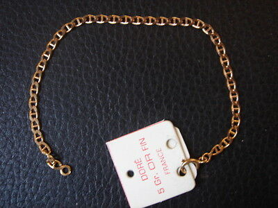 Very Beautiful Vintage Bracelet 1970 Gold Plated 3 Grs New / New/Old 7 1/8in