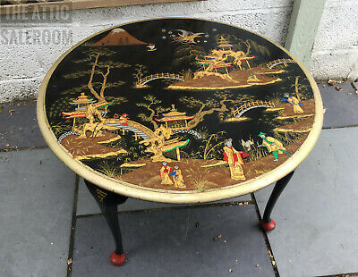 Stunning Antique Hand Painted & Signed Chinoiserie Oriental Style Coffee Table
