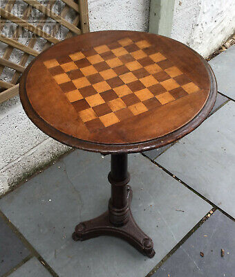 Charming Antique Victorian Circular Chess Side End Drinks Games Poseur Table