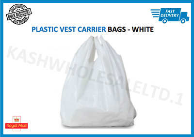 """100 x WHITE PLASTIC VEST CARRIER BAGS 13"""" x 19"""" x 23"""" *SPECIAL OFFER*"""