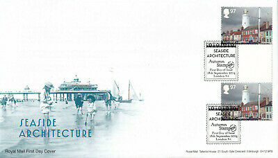 (33299) GB FDC Seaside Architecture Southwold GUTTER PAIR STAMPEX London 2014