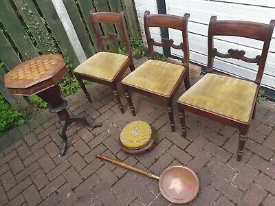 3x Antique Victorian mahogany Dining Chairs Foot Stool , Work Table , Bed Pan