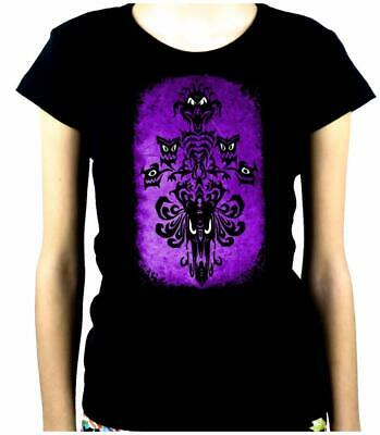 Haunted Mansion Wallpaper Ghoul Women's Babydoll Shirt Top Goth Halloween Spooky