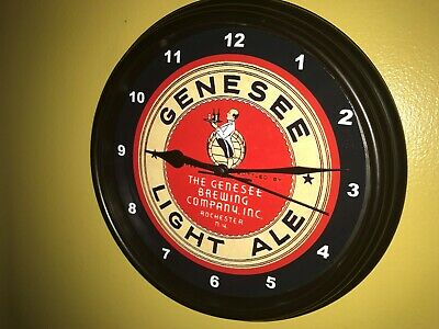 Genesee Light Ale Beer Bar Man Cave Advertising Black Wall Clock Sign