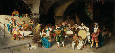 """perfect oil painting handpainted on canvas """"the party at the tavern""""@NO9651"""