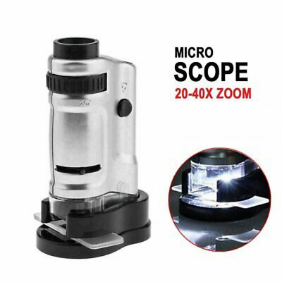 Lighthouse Zoom Microscope LED Magnifier 20x 40x Coins Currency Stamp Minerals