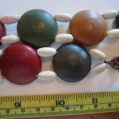 1930s Dyed Wood Domed Circle Bead Stretch Novelty Belt Ladies Vintage Fashion
