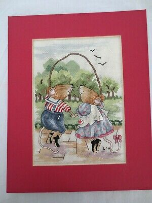 Cross Stitch Mice Children Skipping Competed