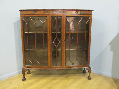 Antique Late Victorian Mahogany Two Glazed Door Bookcase Cabinet Circa 1920