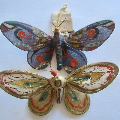2 RARE Vintage Antique Fabric Butterfly Hand Crafted Painted Novelty Pin Brooch