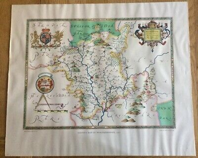 Reproduction Saxton's Map Worcestershire 1577 Taylowe Ltd (1960)