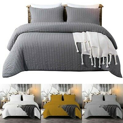 Seersucker Duvet Cover With Pillowcase 100% Egyptian Cotton Bedding Quilt Covers