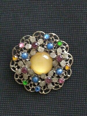 Art Deco Czech Filigree Silver Tone Brooch With Paste Stones