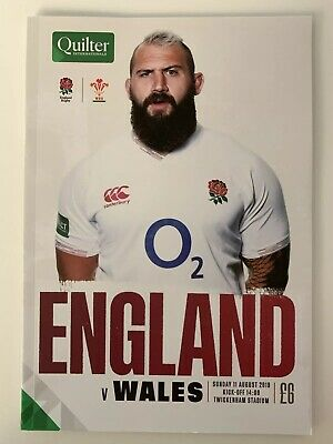 NEW QUILTER INTERNATIONAL 2019 ENGLAND v WALES Rugby Programme 11/08/2019