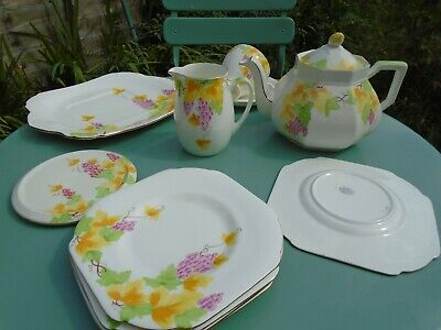 Part Tea Set c1930's GRAFTON Lovely Painted Grape Pattern in style of Shelly
