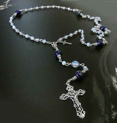 Natural Lapis Lazuli Opalite Crystal Antique Silver Miraculous Rosary