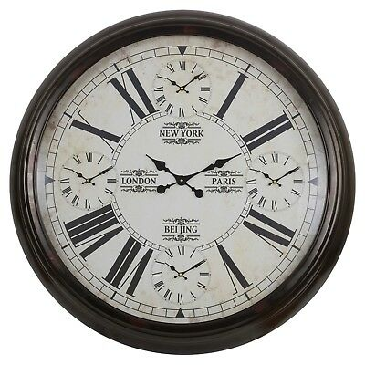 5-in-1 Grand 100cm Horloge Murale Décor Maison Moderne Numéros Romain Monde Time