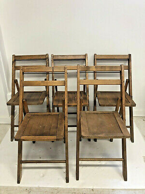 5 Vintage WOOD FOLDING CHAIRS Set slat country wooden bistro wedding dining loft