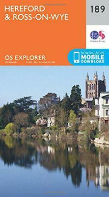 OS Explorer Map (189) Hereford and Ross-on-Wye by Ordnance Survey, NEW Book, FRE