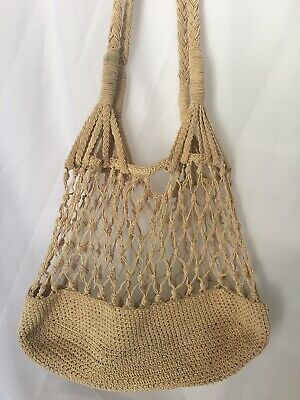 VTG Beige Crochet Mesh Woven Satchel Shopper Market Tote Bag Purse BOho HIppy