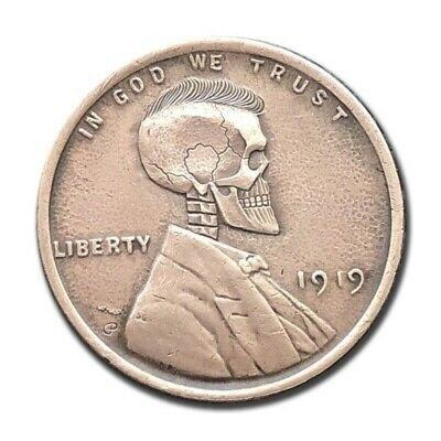 Hobo Nickel Coin 1919 Lincoln One Cent Hand Engraved by Gediminas Palsis