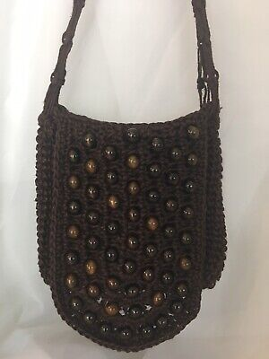VTG Beads Brown Macrame Crochet Woven Flap Hippie Boho 1970s Shoulder Bag Purse