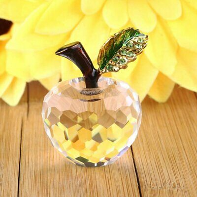 40mm Crystal Glass Apple Ornament Paperweight Home Wedding Decoration DIY Gifts