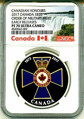 NT 18137 2017Order of Military Merit-Canadian Honours/'Color Prf $20 .9999Fine