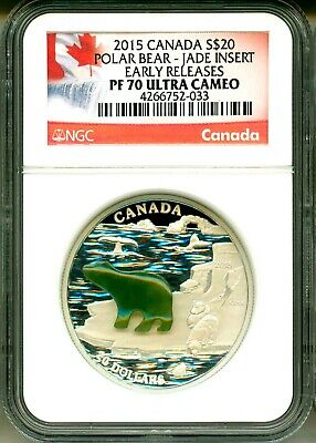 2015 Canada S$20 Polar Bear With Jade Insert Early Release NGC PF70 Ultra Cameo