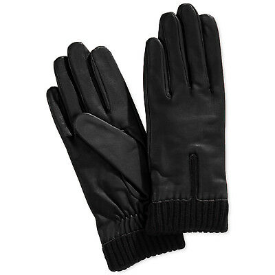 New Small Charter Club Luxe Metisse Leather Women's Cozy Gloves Knit Cuff Black