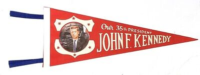 1961 John F Kennedy Our 35th President Inaugural Pennant Ver. #2