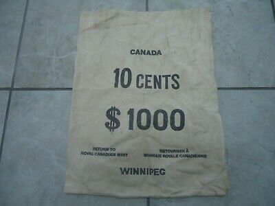 Vintage Royal Canadian Mint Money Bags-$1000/Dimes-Coin Collecting-Winnepeg-Rare