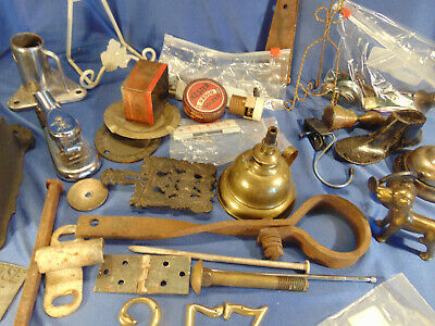 Lot 25 metal pieces old hinges wood match holder mini oil can fishing pole hold