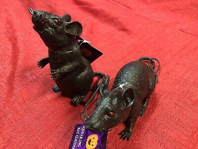 Lot Of 2 Black Rat Mouse Rubber Halloween Scary Rodent Prop Haunted House Decor