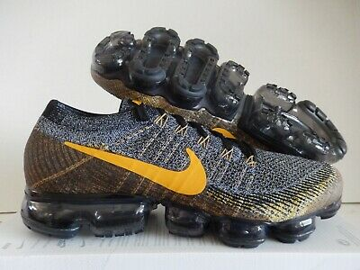 Nike Air Vapormax Flyknit Black-Mineral Gold-Dark Grey Sz 11 [849558-021]