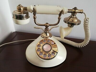 Vintage Retro Brass Rotary Dial French Victoria Princess Style Desk Telephone
