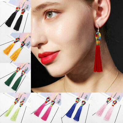 Ethnic Bohemian Women Long Tassel Boho Fringe Ear Stud Dangle Earrings Jewelry