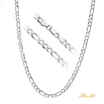 Solid 925 Sterling Silver 4mm Thick Italian Figaro Link Chain Necklace ALL SIZES