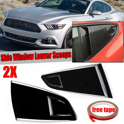 15-18 Ford Mustang Glossy Black Scoop Cover Rear Side 1//4 Quarter Window Louver