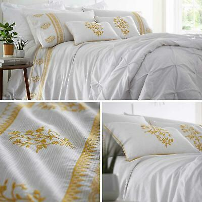 Mustard Duvet Covers Grey Embroidered Floral Boho Quilt Cover Bedding Sets