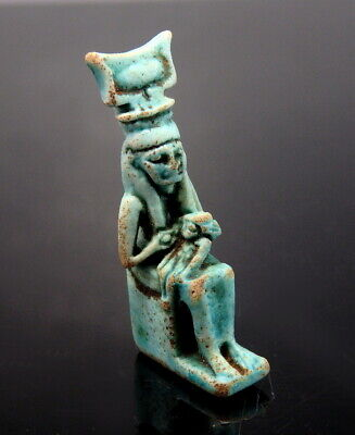 Egyptian Faience Blue Glazed Amulet Of Isis & Suckling Child Horus (M596)