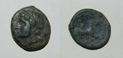 ANCIENT SICULO-PUNIC BRONZE  4th - 3rd Cent. B.C. Head of Tanit / Horse - SCARCE