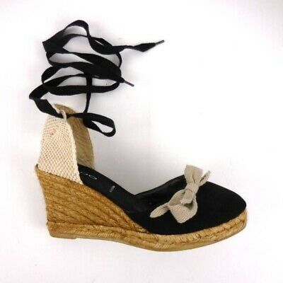 bbd9afbe690 ALDO ESPADRILLE WEDGES women size 9 shoes Black Lace Up Tie Wedge