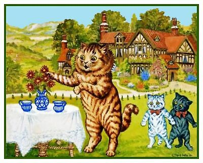 Louis Wain's Snobby Kitty Chats au Manoir Maison Point de Croix Tableau Motif