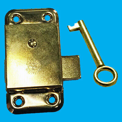 "1x 3"" Inch Brass Door Lock & Key For Wardrobe Cupboard Cabinet Desk Drawer"