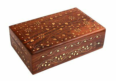 Hand Crafted Wooden Decorative Trinket Jewelry Box Organiser with Mughal
