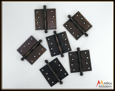 Vintage 1900s Architectural Antique Door Hinge Set of 6 Hinges Bronze Metal