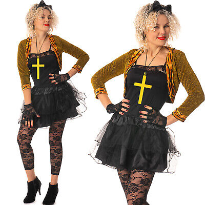 80s fancy dress hen party Wild Child Madonna Costume Ladies 1980s Popstar